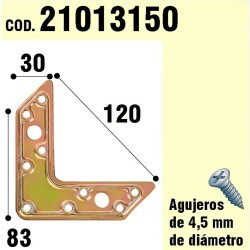 "Soporte Para Madera Placa ""L""  Bicromatado 120 mm."
