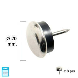 Deslizante Metal Goma Claro Ø20 (Blister 8 Unidades)