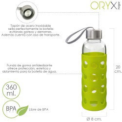 Botella Agua de Cristal, Capacidad De 360 ML. Libre BPA, Con Funda Goma y Tapon Antigotas