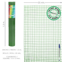 Malla Electrosoldada Plastificada Corral 13x13 / Altura 150 cm. / Rollo 25 metros