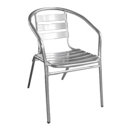 Silla Terraza Aluminio Con brazos Apilable